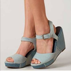 Charcoal Black Denim Fabric Peep Toe Wedge Sandals